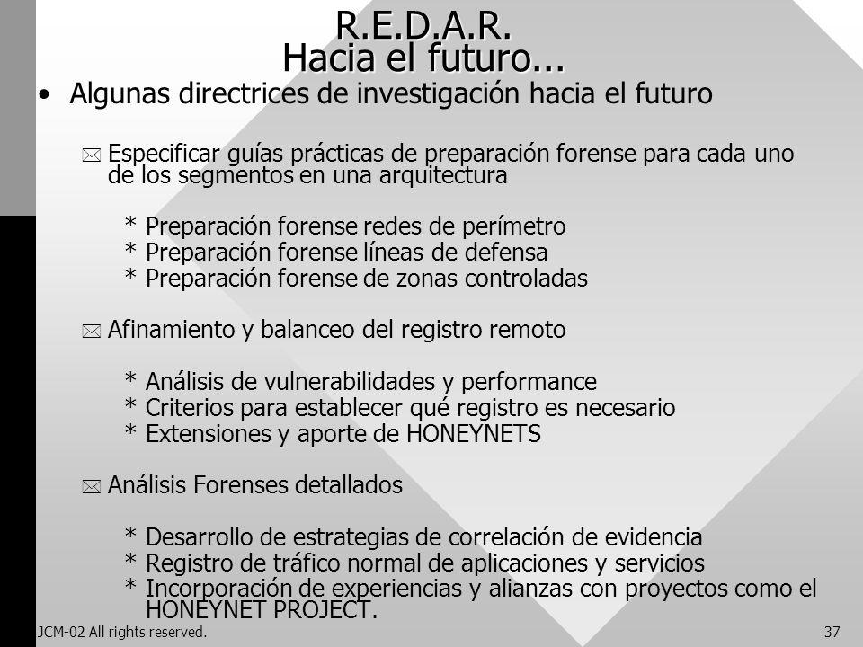 JCM-02 All rights reserved.37 R.E.D.A.R. Hacia el futuro... Algunas directrices de investigación hacia el futuro * Especificar guías prácticas de prep