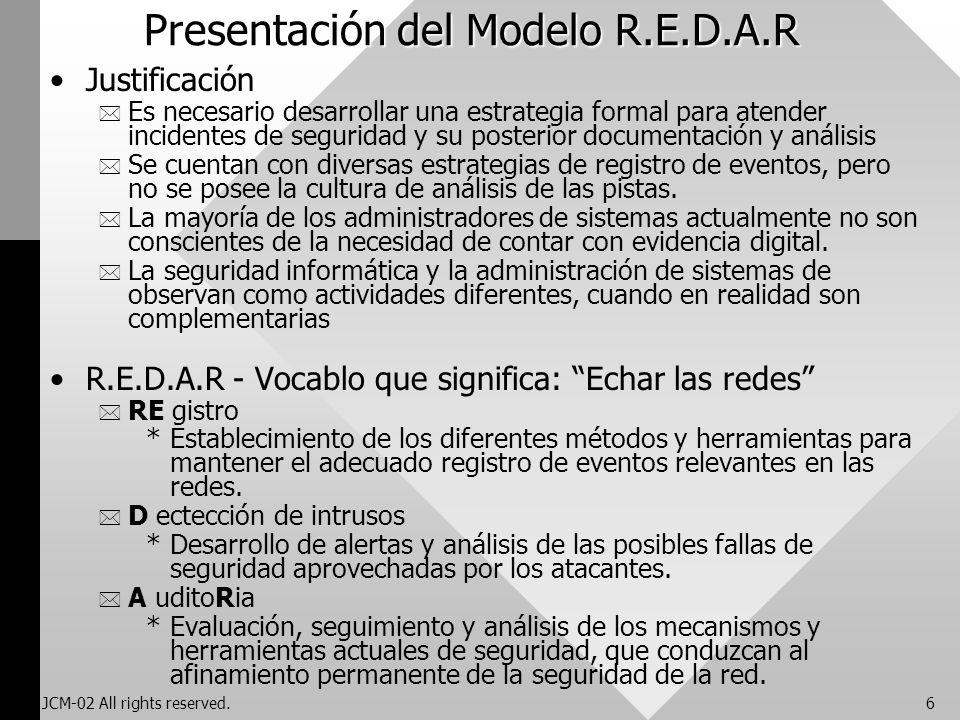 JCM-02 All rights reserved.6 Presentación del Modelo R.E.D.A.R Justificación * Es necesario desarrollar una estrategia formal para atender incidentes