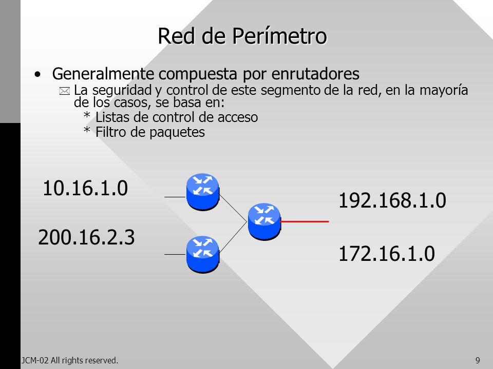 JCM-02 All rights reserved.9 Red de Perímetro Generalmente compuesta por enrutadores * La seguridad y control de este segmento de la red, en la mayorí