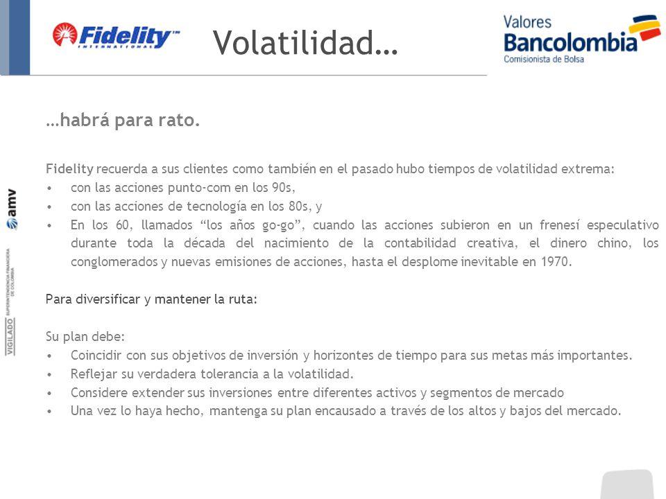 Volatilidad… …habrá para rato. Fidelity recuerda a sus clientes como también en el pasado hubo tiempos de volatilidad extrema: con las acciones punto-