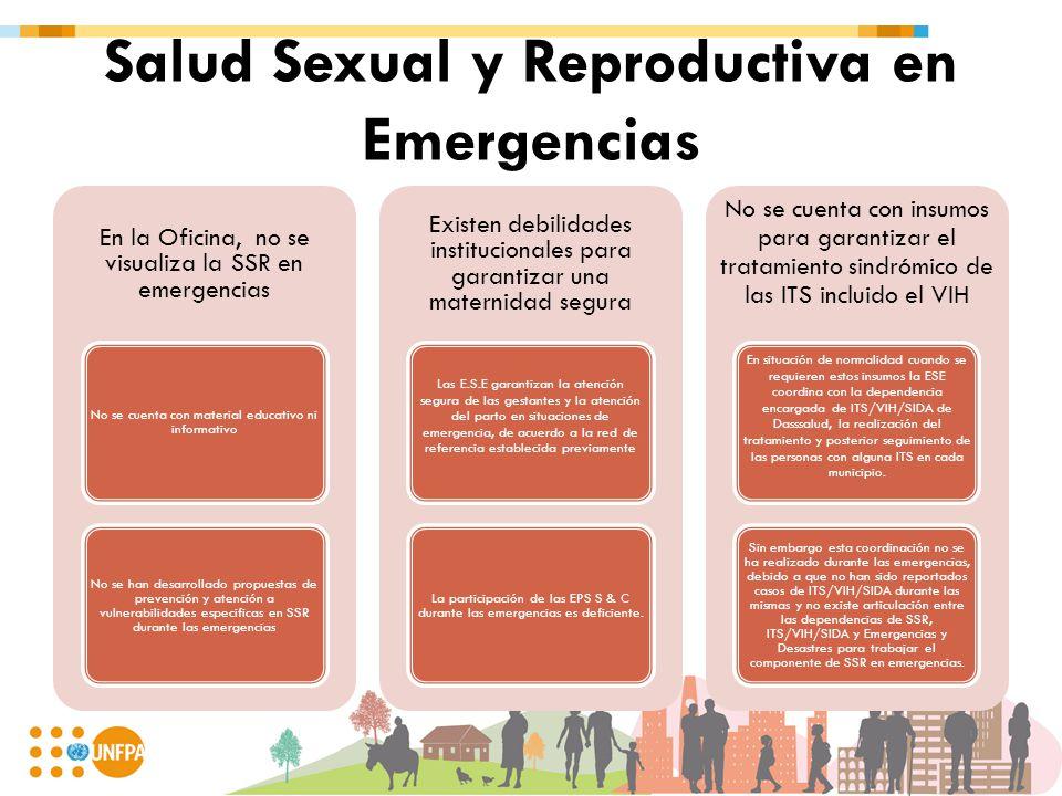 Salud Sexual y Reproductiva en Emergencias En la Oficina, no se visualiza la SSR en emergencias No se cuenta con material educativo ni informativo No