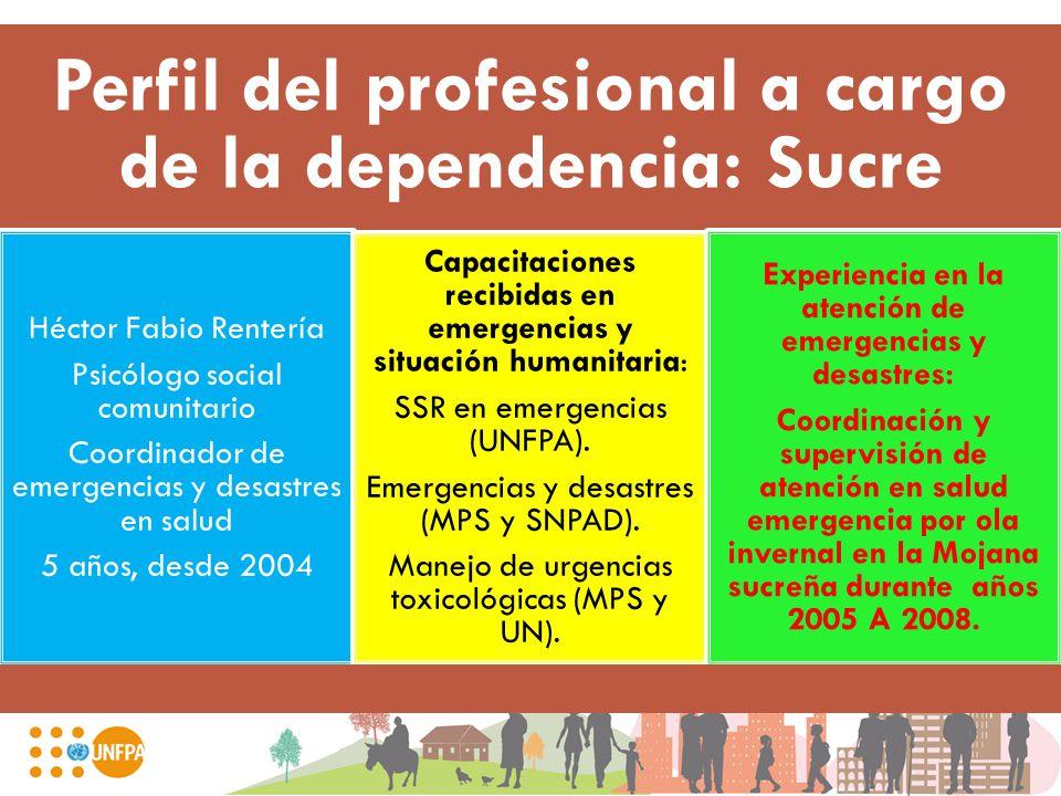 Perfil del profesional a cargo de la dependencia: Sucre Héctor Fabio Rentería Psicólogo social comunitario Coordinador de emergencias y desastres en s