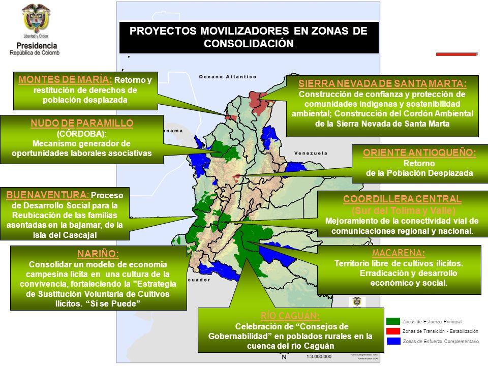 Zonas de Transición - Estabilización Zonas de Consolidaci ó n PROYECTOS MOVILIZADORES EN ZONAS DE CONSOLIDACIÓN Zonas de Esfuerzo PrincipalZonas de Esfuerzo Complementario NUDO DE PARAMILLO (CÓRDOBA): Mecanismo generador de oportunidades laborales asociativas BUENAVENTURA: Proceso de Desarrollo Social para la Reubicación de las familias asentadas en la bajamar, de la Isla del Cascajal NARIÑO: Consolidar un modelo de economía campesina lícita en una cultura de la convivencia, fortaleciendo la Estrategia de Sustitución Voluntaria de Cultivos Ilícitos.