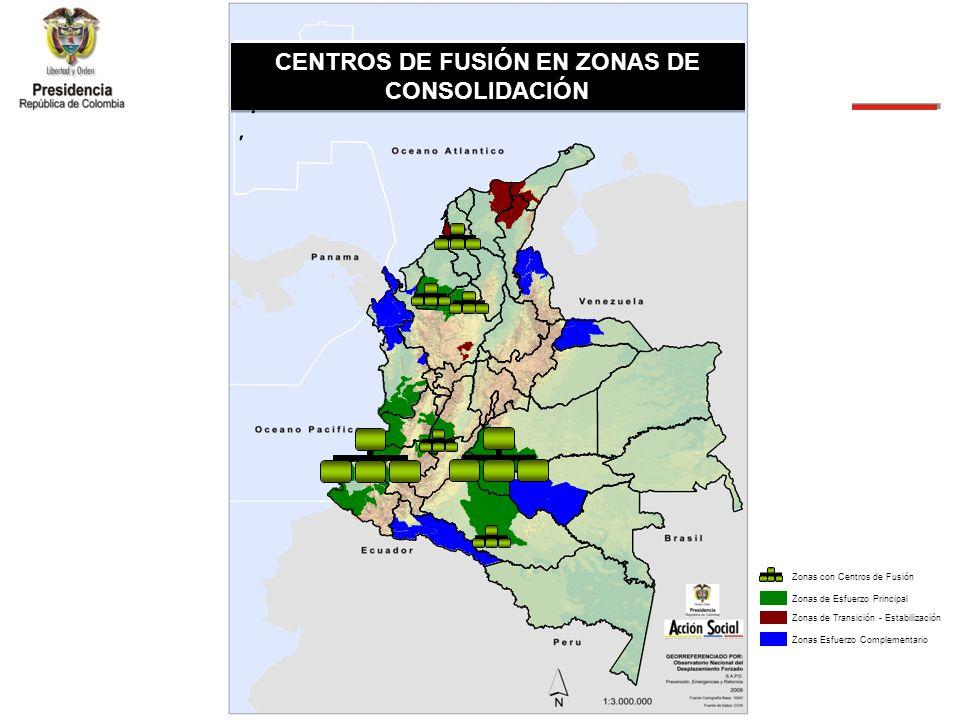 Zonas de Consolidaci ó n CENTROS DE FUSIÓN EN ZONAS DE CONSOLIDACIÓN Zonas de Esfuerzo PrincipalZonas de Transición - EstabilizaciónZonas Esfuerzo Complementario Zonas con Centros de Fusión