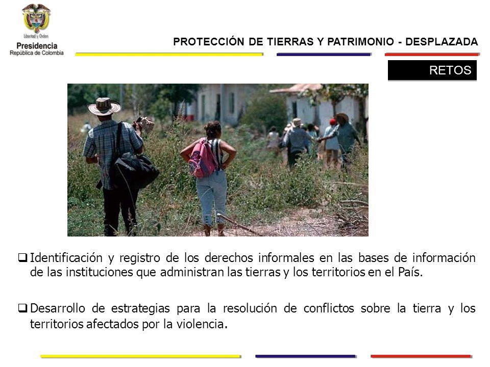 Identificación y registro de los derechos informales en las bases de información de las instituciones que administran las tierras y los territorios en el País.