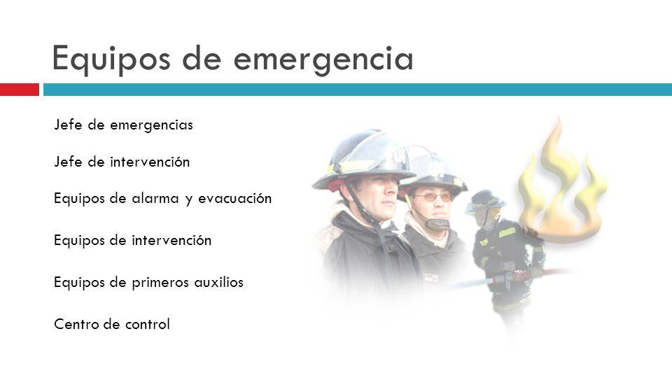 Equipos de emergencia Jefe de emergencias Jefe de intervención Equipos de alarma y evacuación Equipos de intervención Equipos de primeros auxilios Centro de control