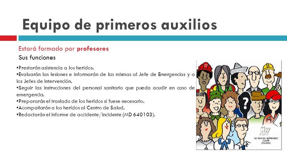 Equipo de primeros auxilios Estará formado por profesores Sus funciones Prestarán asistencia a los heridos.