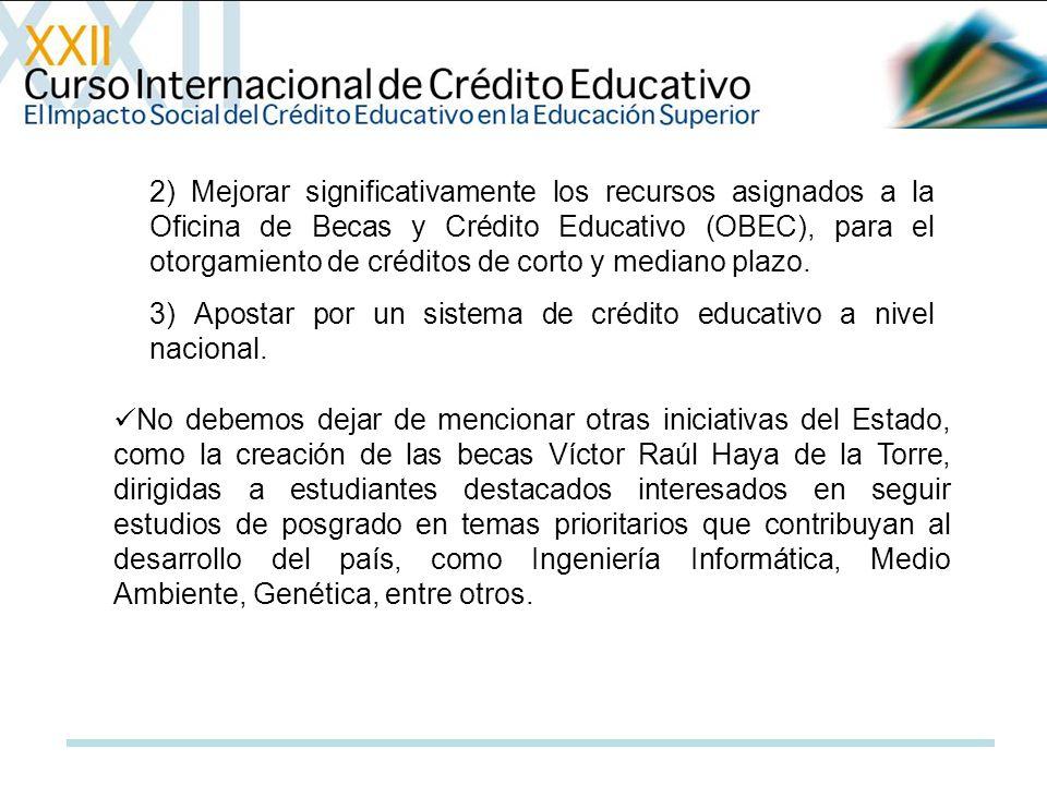 2) Mejorar significativamente los recursos asignados a la Oficina de Becas y Crédito Educativo (OBEC), para el otorgamiento de créditos de corto y med