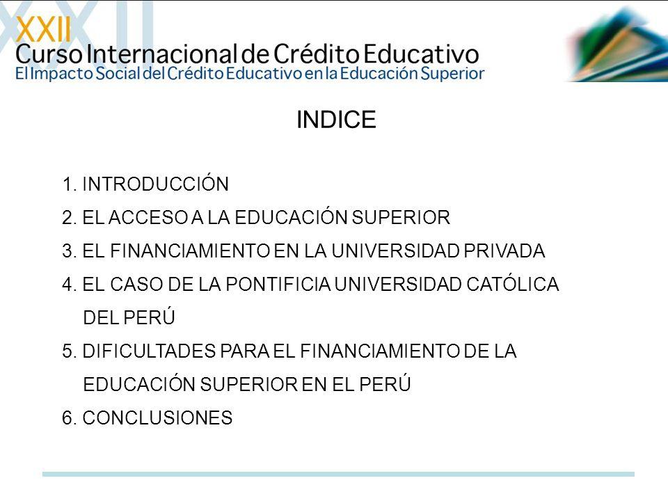 INDICE 1. INTRODUCCIÓN 2. EL ACCESO A LA EDUCACIÓN SUPERIOR 3. EL FINANCIAMIENTO EN LA UNIVERSIDAD PRIVADA 4. EL CASO DE LA PONTIFICIA UNIVERSIDAD CAT
