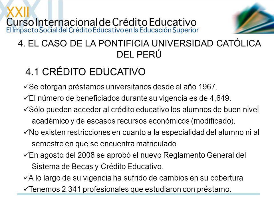 4. EL CASO DE LA PONTIFICIA UNIVERSIDAD CATÓLICA DEL PERÚ Se otorgan préstamos universitarios desde el año 1967. El número de beneficiados durante su