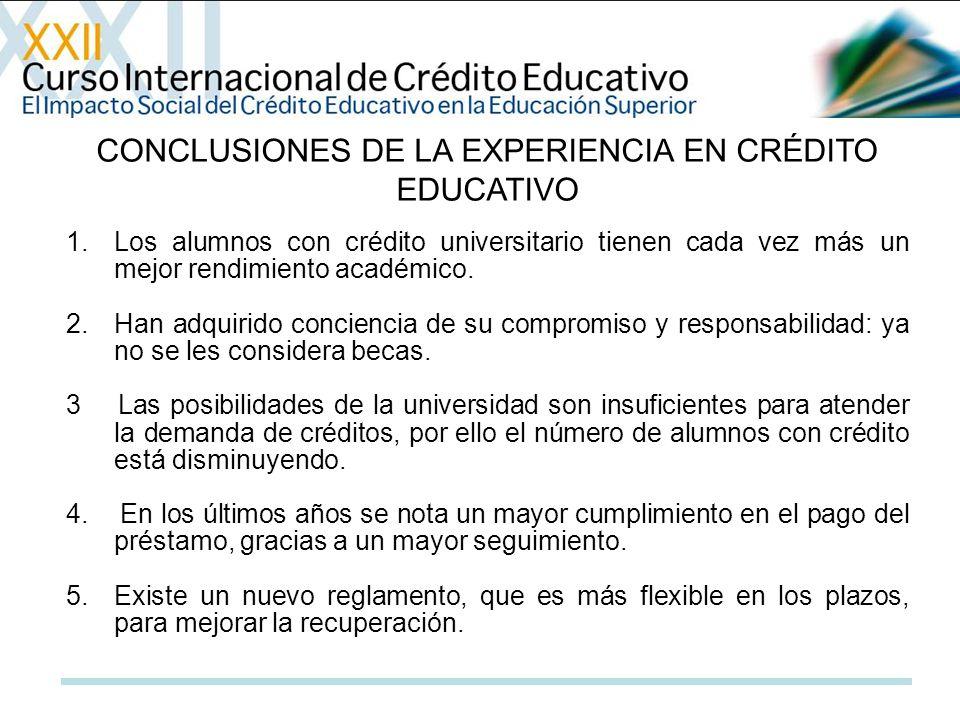 CONCLUSIONES DE LA EXPERIENCIA EN CRÉDITO EDUCATIVO 1.Los alumnos con crédito universitario tienen cada vez más un mejor rendimiento académico. 2.Han
