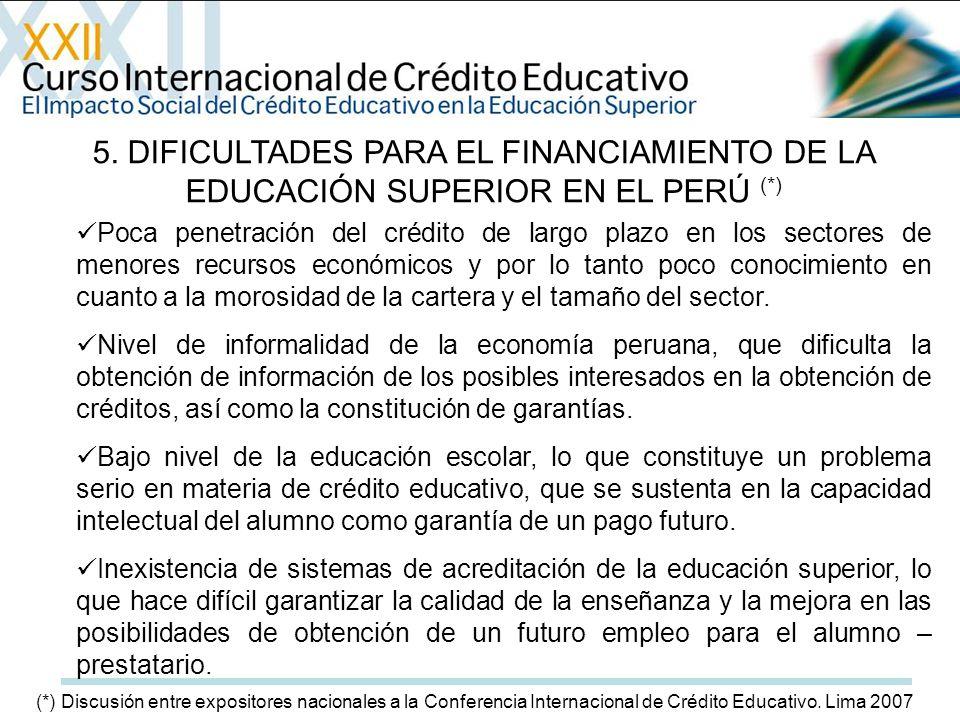 5. DIFICULTADES PARA EL FINANCIAMIENTO DE LA EDUCACIÓN SUPERIOR EN EL PERÚ (*) Poca penetración del crédito de largo plazo en los sectores de menores