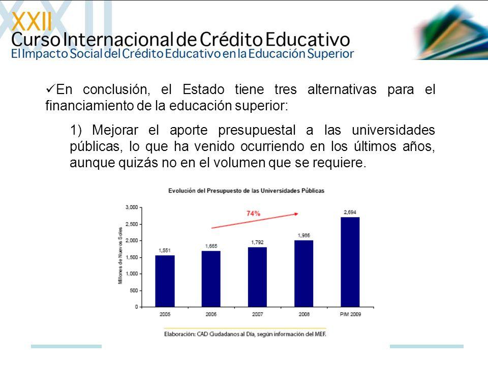 En conclusión, el Estado tiene tres alternativas para el financiamiento de la educación superior: 1) Mejorar el aporte presupuestal a las universidade