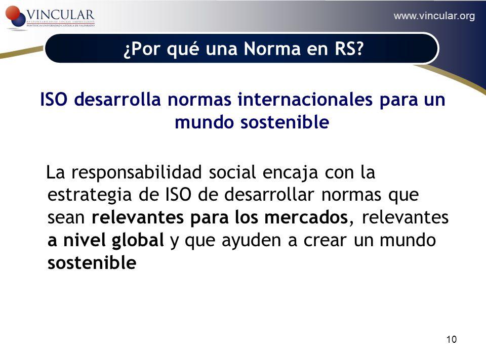 www.vincular.org 10 ¿Por qué una Norma en RS? ISO desarrolla normas internacionales para un mundo sostenible La responsabilidad social encaja con la e