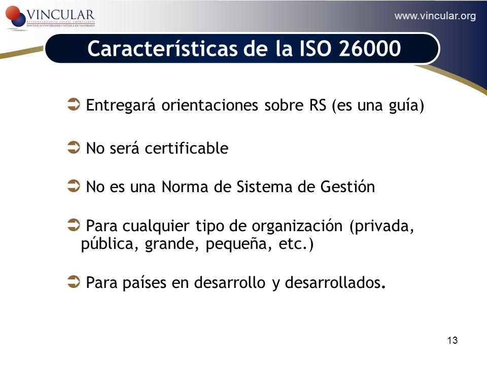 www.vincular.org 13 ACCIONISTAS Características de la ISO 26000 Entregará orientaciones sobre RS (es una guía) No será certificable No es una Norma de