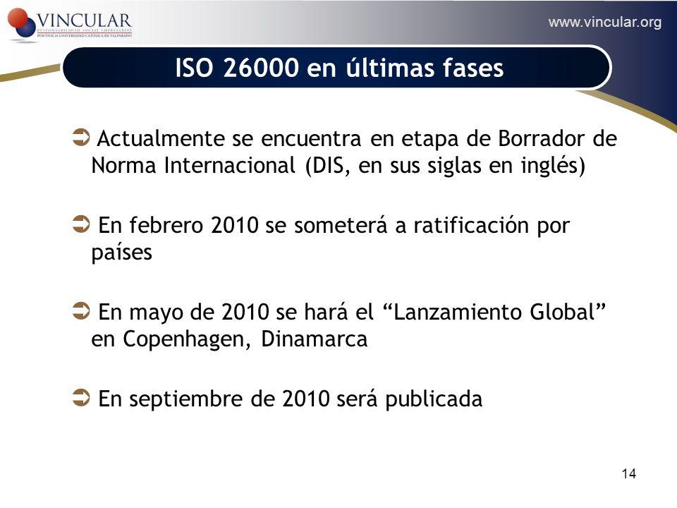 www.vincular.org 14 ACCIONISTAS ISO 26000 en últimas fases Actualmente se encuentra en etapa de Borrador de Norma Internacional (DIS, en sus siglas en