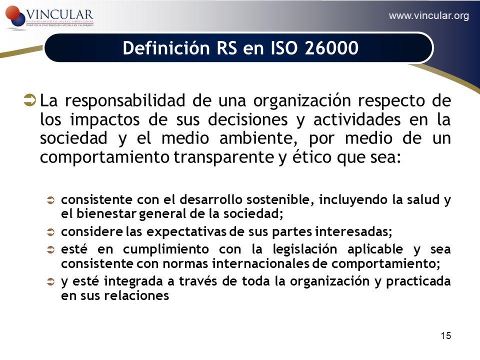 www.vincular.org 15 Definición RS en ISO 26000 La responsabilidad de una organización respecto de los impactos de sus decisiones y actividades en la s