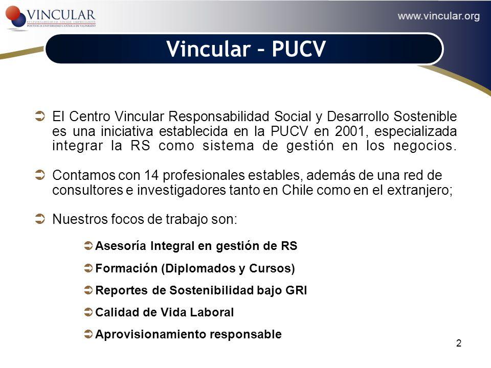 2 Vincular – PUCV El Centro Vincular Responsabilidad Social y Desarrollo Sostenible es una iniciativa establecida en la PUCV en 2001, especializada in
