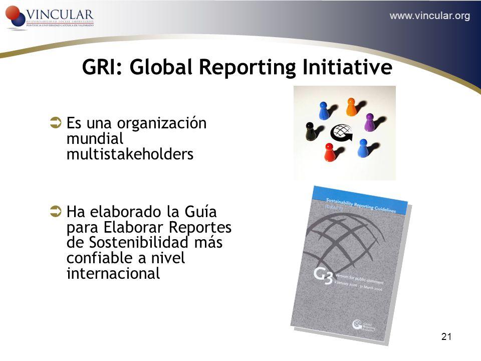 www.vincular.org 21 GRI: Global Reporting Initiative Es una organización mundial multistakeholders Ha elaborado la Guía para Elaborar Reportes de Sost