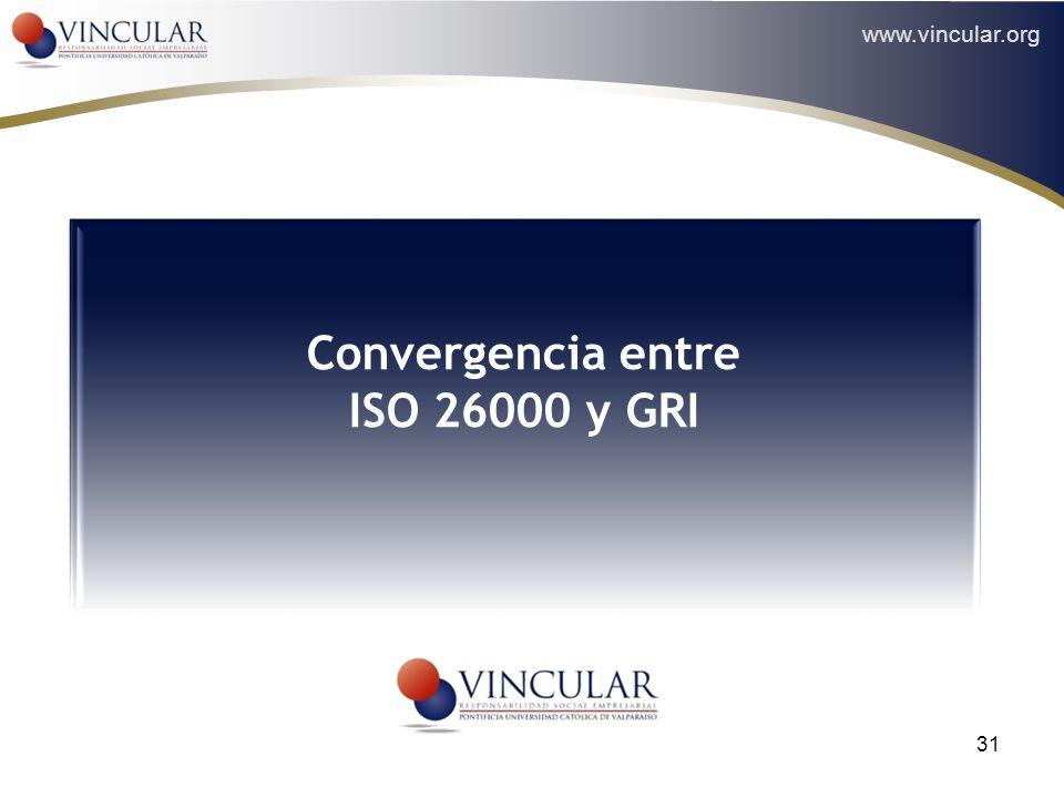 www.vincular.org 31 Convergencia entre ISO 26000 y GRI