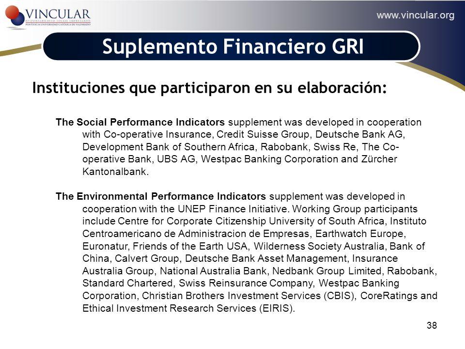 www.vincular.org 38 Suplemento Financiero GRI Instituciones que participaron en su elaboración: The Social Performance Indicators supplement was devel