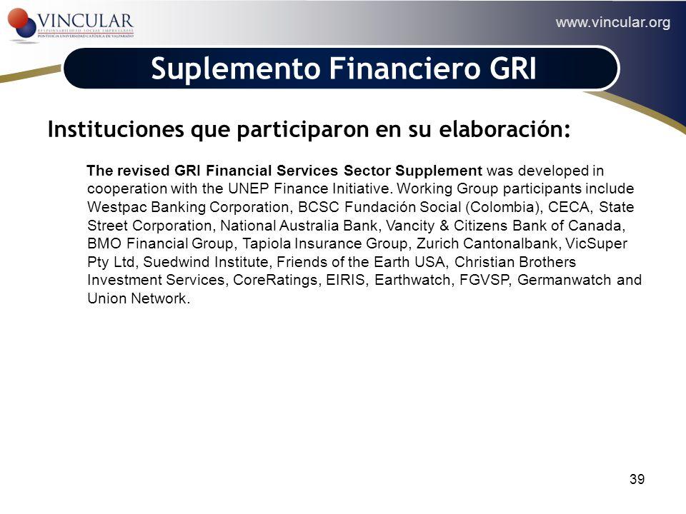 www.vincular.org 39 Suplemento Financiero GRI Instituciones que participaron en su elaboración: The revised GRI Financial Services Sector Supplement w