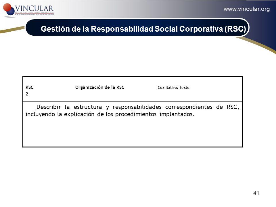 www.vincular.org 41 RSC Organización de la RSC Cualitativo; texto 2 Describir la estructura y responsabilidades correspondientes de RSC, incluyendo la