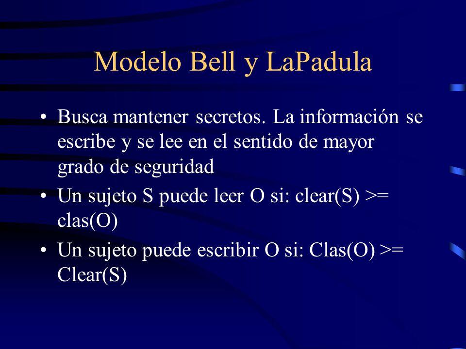 Modelo Bell y LaPadula Busca mantener secretos.