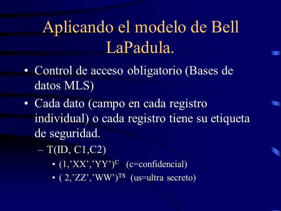 Aplicando el modelo de Bell LaPadula.