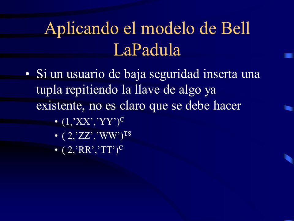 Aplicando el modelo de Bell LaPadula Si un usuario de baja seguridad inserta una tupla repitiendo la llave de algo ya existente, no es claro que se debe hacer (1,XX,YY) C ( 2,ZZ,WW) TS ( 2,RR,TT) C