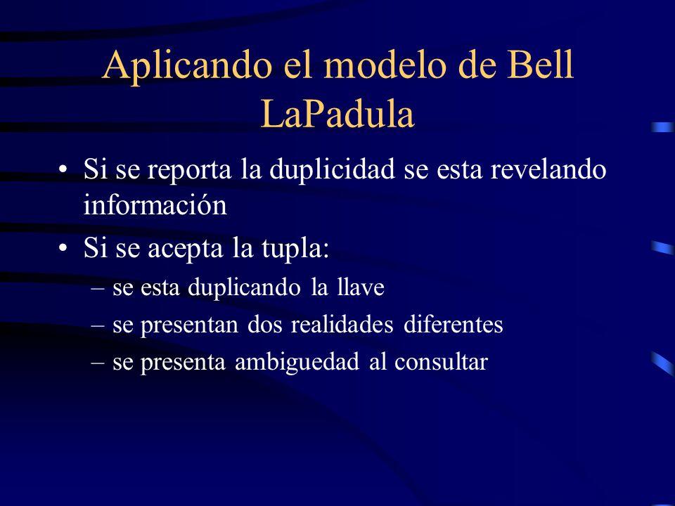 Aplicando el modelo de Bell LaPadula Si se reporta la duplicidad se esta revelando información Si se acepta la tupla: –se esta duplicando la llave –se presentan dos realidades diferentes –se presenta ambiguedad al consultar