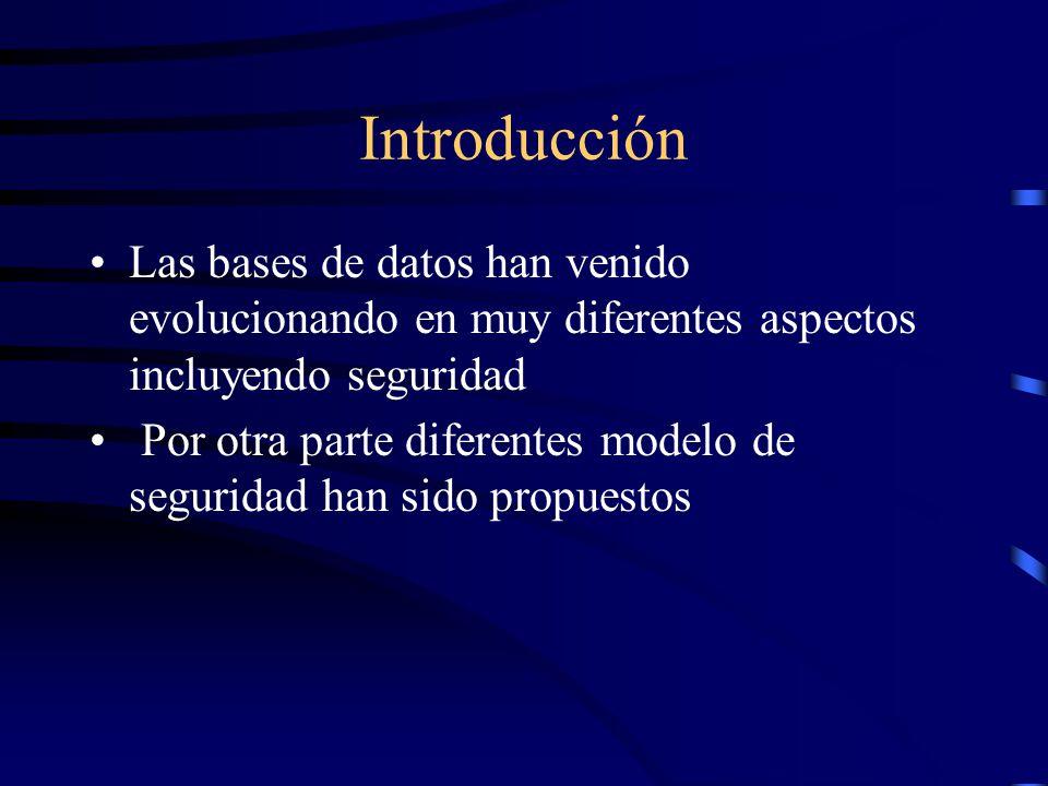 Introducción Las bases de datos han venido evolucionando en muy diferentes aspectos incluyendo seguridad Por otra parte diferentes modelo de seguridad han sido propuestos