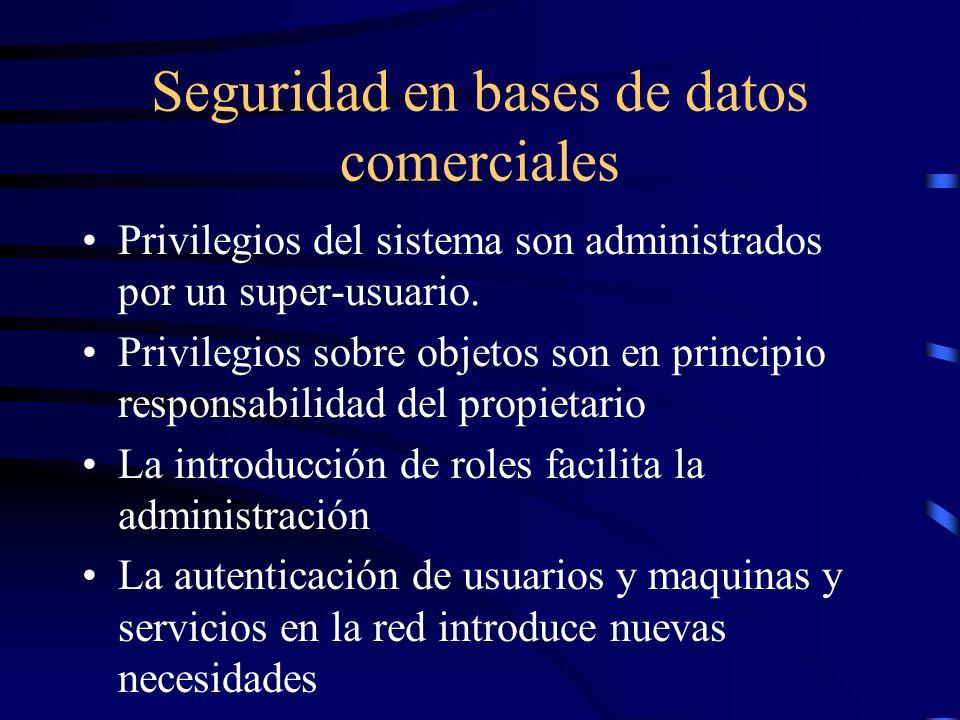 Seguridad en bases de datos comerciales Privilegios del sistema son administrados por un super-usuario.