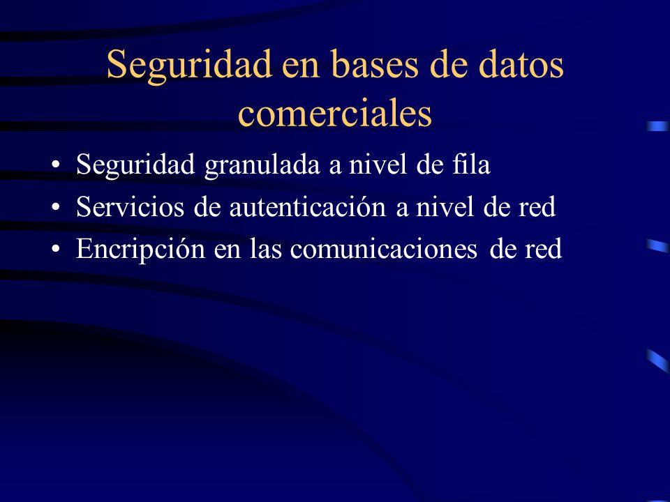 Seguridad en bases de datos comerciales Seguridad granulada a nivel de fila Servicios de autenticación a nivel de red Encripción en las comunicaciones de red