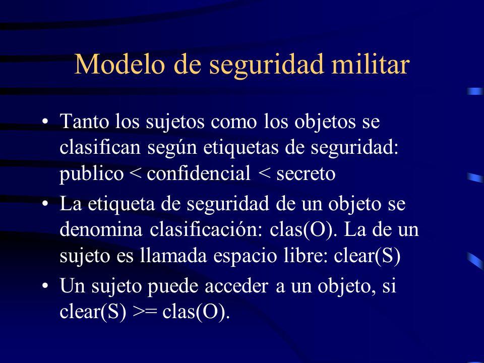 Modelo de seguridad militar Tanto los sujetos como los objetos se clasifican según etiquetas de seguridad: publico < confidencial < secreto La etiqueta de seguridad de un objeto se denomina clasificación: clas(O).