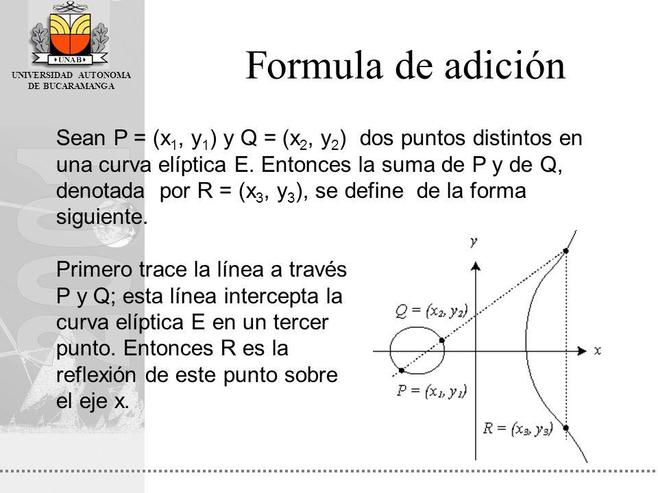 UNIVERSIDAD AUTONOMA DE BUCARAMANGA Formula de adición Sean P = (x 1, y 1 ) y Q = (x 2, y 2 ) dos puntos distintos en una curva elíptica E. Entonces l