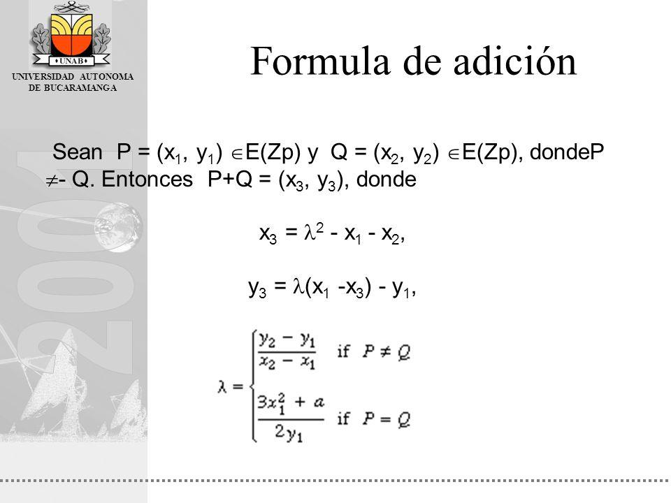 UNIVERSIDAD AUTONOMA DE BUCARAMANGA Formula de adición Sean P = (x 1, y 1 ) E(Zp) y Q = (x 2, y 2 ) E(Zp), dondeP - Q. Entonces P+Q = (x 3, y 3 ), don