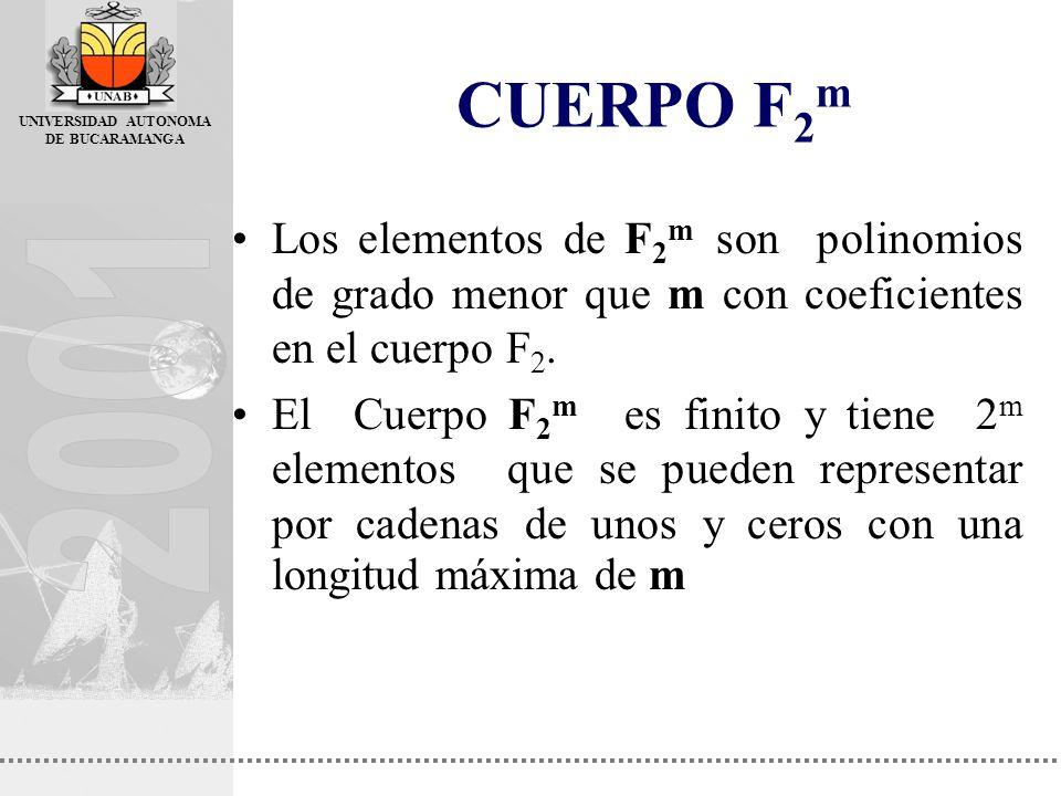 UNIVERSIDAD AUTONOMA DE BUCARAMANGA CUERPO F 2 m Los elementos de F 2 m son polinomios de grado menor que m con coeficientes en el cuerpo F 2. El Cuer