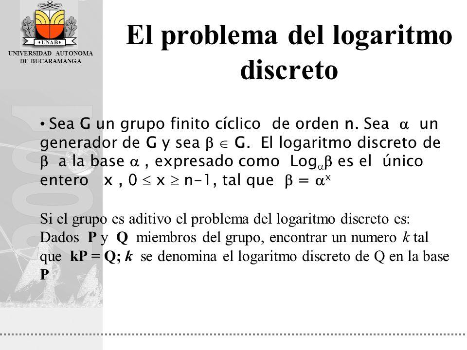 UNIVERSIDAD AUTONOMA DE BUCARAMANGA El problema del logaritmo discreto Sea G un grupo finito cíclico de orden n. Sea un generador de G y sea G. El log