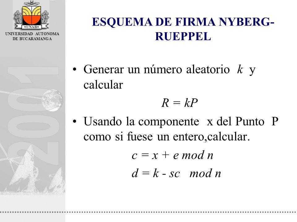 UNIVERSIDAD AUTONOMA DE BUCARAMANGA Generar un número aleatorio k y calcular R = kP Usando la componente x del Punto P como si fuese un entero,calcula