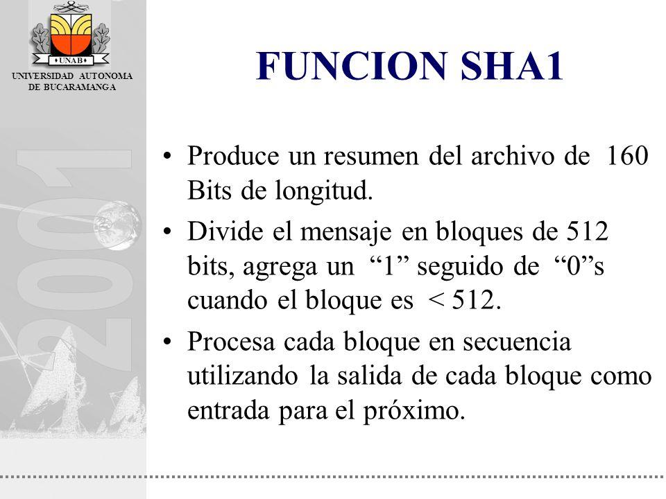 UNIVERSIDAD AUTONOMA DE BUCARAMANGA FUNCION SHA1 Produce un resumen del archivo de 160 Bits de longitud. Divide el mensaje en bloques de 512 bits, agr