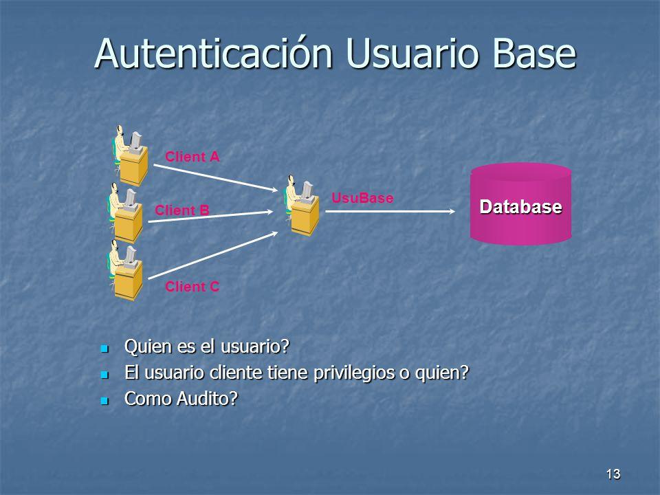 12 Autenticación Directa Quien es el usuario? Quien es el usuario? El usuario tiene privilegios directos? El usuario tiene privilegios directos? Como