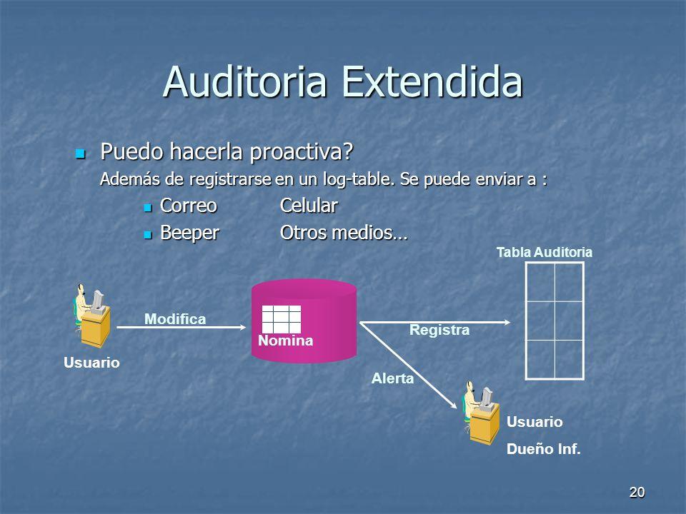 19 Auditoria Extendida Como Funciona? Como Funciona? Un insert tiene imagen pre. Un update tiene imagen pre y post. Un delete tiene imagen post Usuari