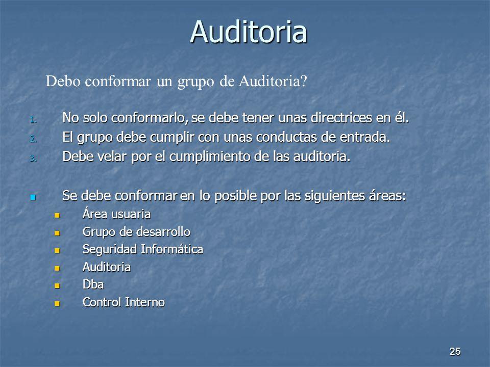 24 Auditoria Oracle Audit es muy eficiente. Oracle Audit es muy eficiente. La Auditoria es implementada en la base de datos, no en un adicional, add-o