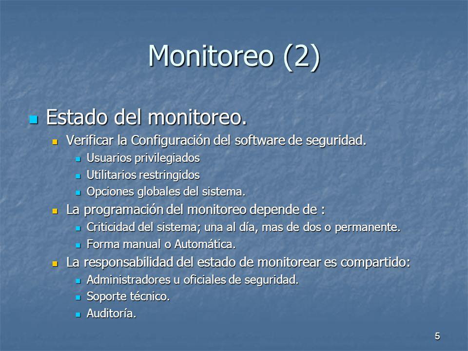 5 Monitoreo (2) Estado del monitoreo.Estado del monitoreo.