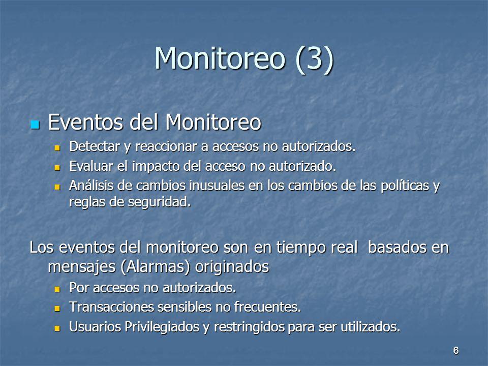 6 Monitoreo (3) Eventos del Monitoreo Eventos del Monitoreo Detectar y reaccionar a accesos no autorizados.