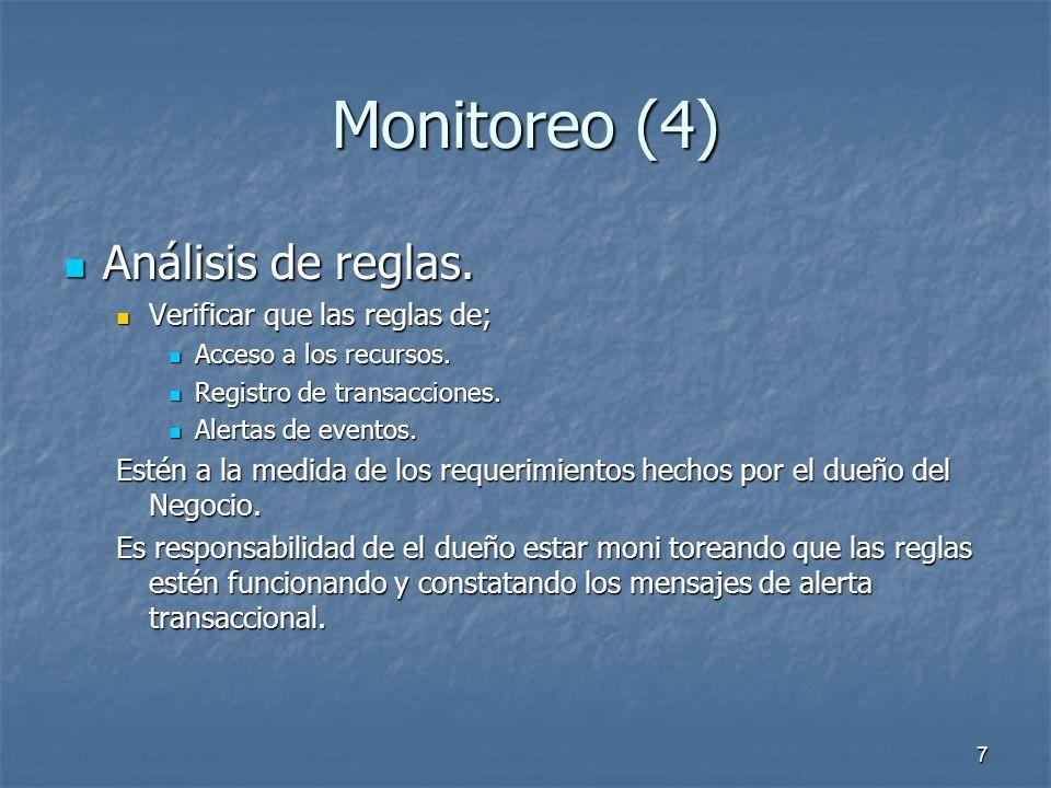 6 Monitoreo (3) Eventos del Monitoreo Eventos del Monitoreo Detectar y reaccionar a accesos no autorizados. Detectar y reaccionar a accesos no autoriz