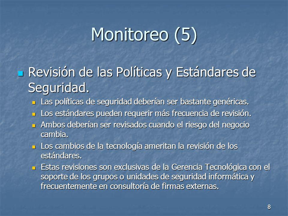 8 Monitoreo (5) Revisión de las Políticas y Estándares de Seguridad.