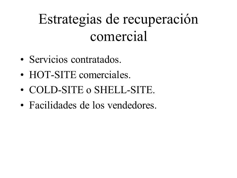 Estrategias internas Control interno de las instalaciones de backups y sistemas para ser usados en emergencia: –Mantener los sistemas de HW en la mejor configuración.
