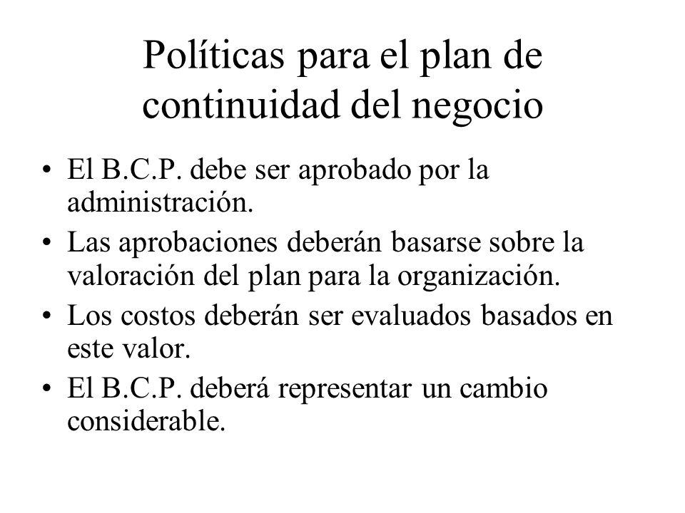 Políticas para el plan de continuidad del negocio El B.C.P.